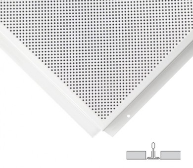 18 бр. Метални пана KNAUF Armstrong Ceiling Solutions Lay In Microperforated 1522 Tegular 2 White - 15/600/600 мм