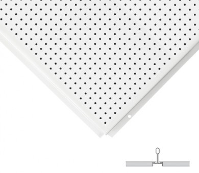 16 бр. Метални пана KNAUF Armstrong Ceiling Solutions Lay In Perforated Rd 2516 MicroLook 8 White - 8/600/600 мм