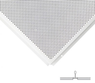 16 бр. Метални пана KNAUF Armstrong Ceiling Solutions Lay In Microperforated Rd 1522 MicroLook 8 White - 8/600/600 мм