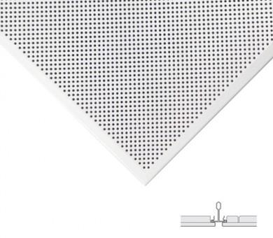 10 бр. Метални пана KNAUF Armstrong Ceiling Solutions Lay In Microperforated Rd 1522 Axal Vector White - 24/600/600 мм